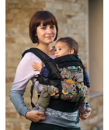 ISARA Funky Owls baby, ergonomic adjustable baby carrier organic cotton