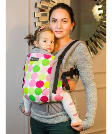 ISARA Disco Dots Toddler ergonomic adjustable  baby carrier organic cotton