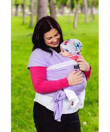 Baby stretchy wrap ISARA liliac with traditional lace